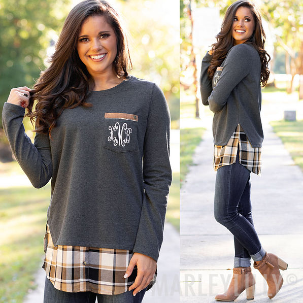 charcoal monogrammed plaid layered sweatshirt