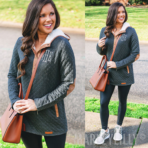 monogrammed quilted hoodie in charcoal