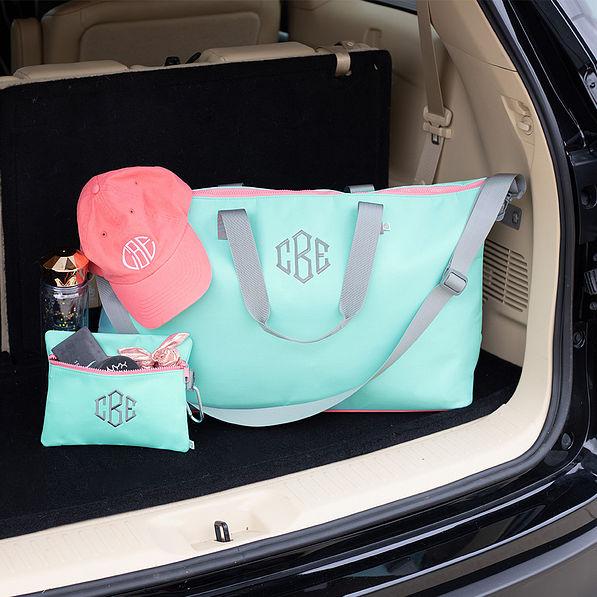 monogrammed weekend bag in mint