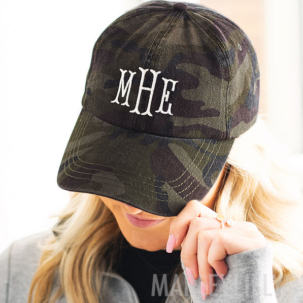 monogrammed baseball hat in navy