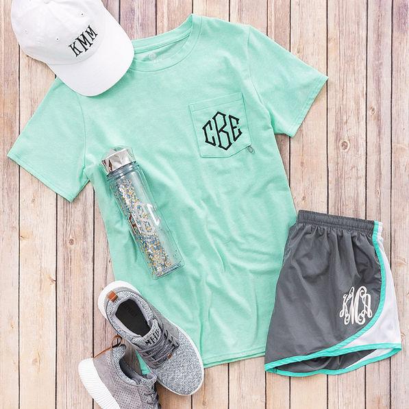 monogrammed dockside shirt in mint