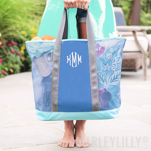 monogrammed mesh beach tote in mint