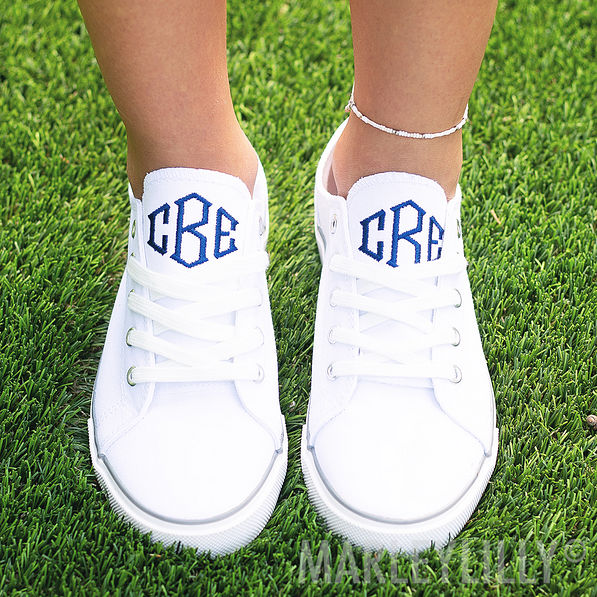 monogrammed white canvas sneakers