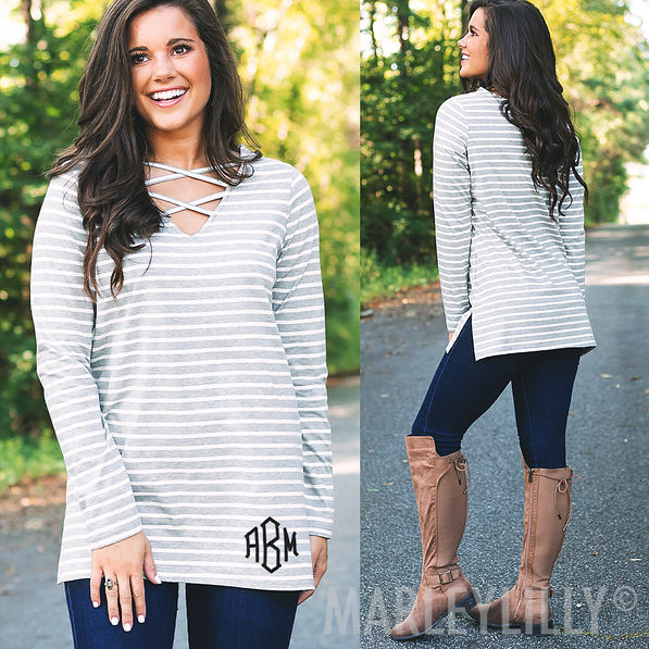 monogrammed criss cross tunic in gray