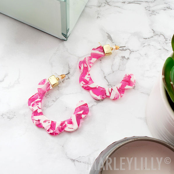 pink and white flower resin hoop earrings