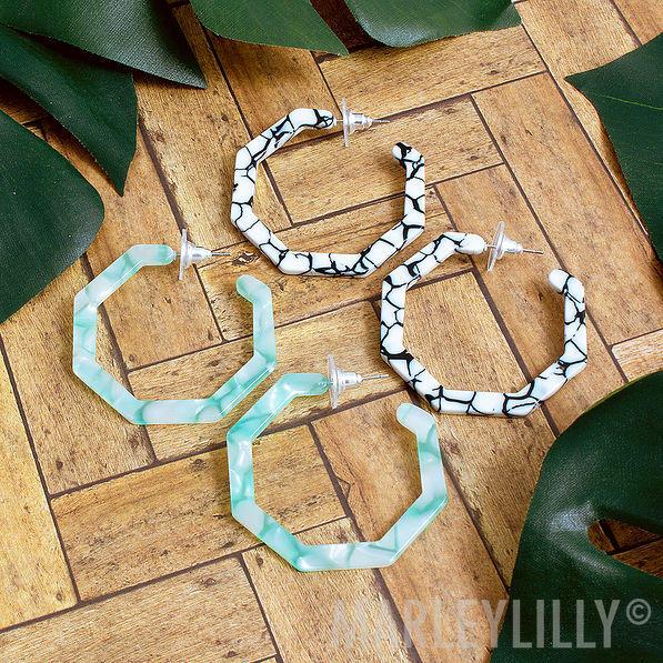 octagon resin hoops in mint