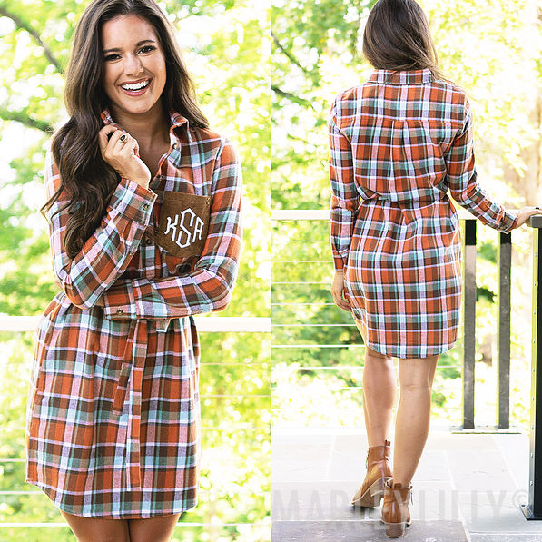 monogrammed shirt dress in pumpkin plaid