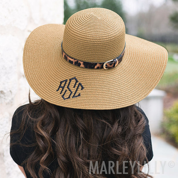 monogrammed leopard sun hat