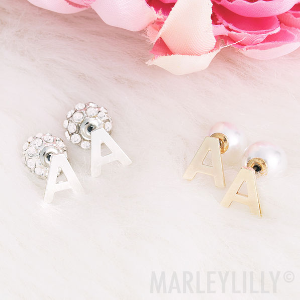 single initial earring set, letter G