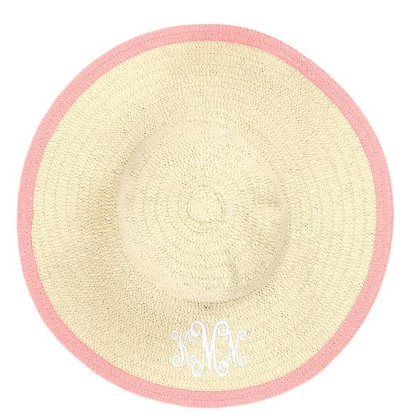 monogrammed sun hat in pink
