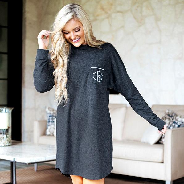 monogrammed long sleeve sleep tee in heathered black