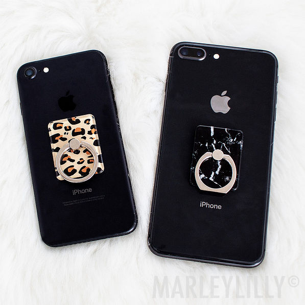 black and white marble phone ring