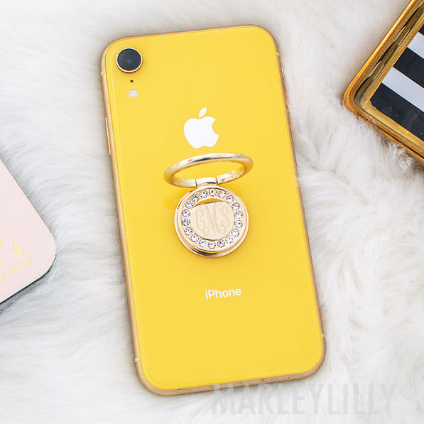 monogrammed rhinestone phone ring in gold