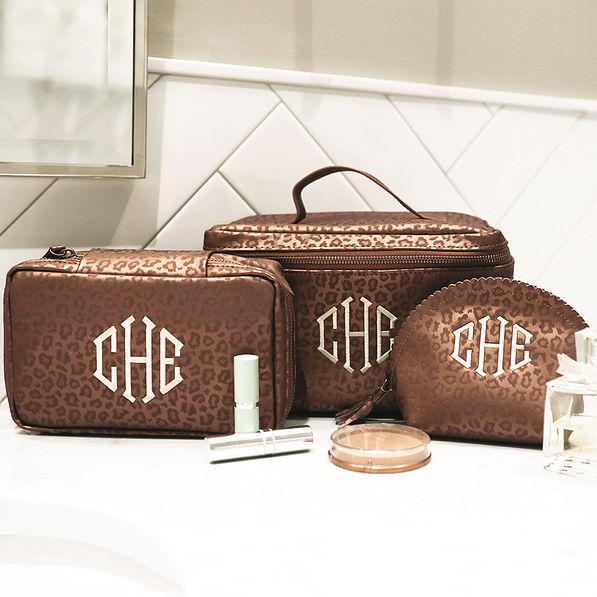 monogrammed metallic leopard rectangle cosmetic bag