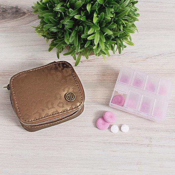 metallic leopard pill case