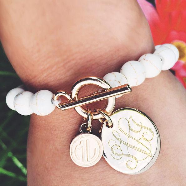 monogrammed ivory ball bracelet