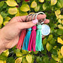 Personalized Key Chain with a tassel in coral, aqua, hot pink and mint