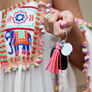 colorful personalized tassel key chain in coral