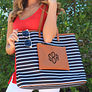 Overnight Tote Bag in Black and White Stripe On Model Arm