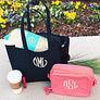 monogrammed canvas tote bag with pink make up bag