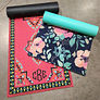 red carpet and navy floral custom yoga mats