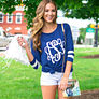 navy monogrammed gameday outfit, monogrammed tunic