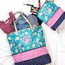 expandable cosmetic bag and overnight tote bag