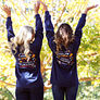 monogrammed fall t-shirts with trees in background