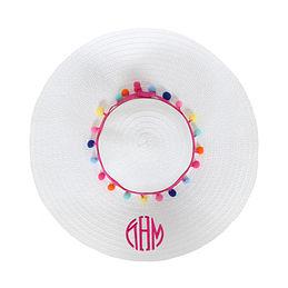 Monogrammed Pom Pom Sun Hat