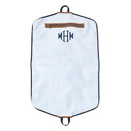 Monogrammed Seersucker Garment Bag