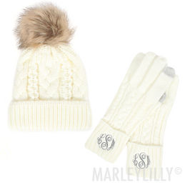 Monogrammed Gloves and Hat Set