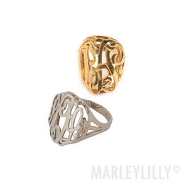 Monogrammed Cut Out Raised Ring