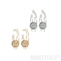 Monogrammed Hoop Earrings