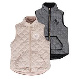 Monogrammed Herringbone Vest