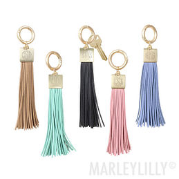 Monogrammed Large Tassel Key Ring