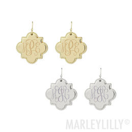 Monogrammed Quatrefoil Earrings