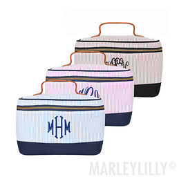 Monogrammed Seersucker Train Case