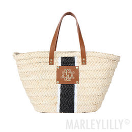 Monogrammed Straw Tote Bag