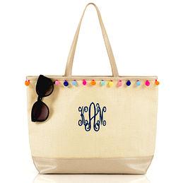 Monogrammed Pom Pom Tote Bag