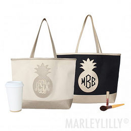 Monogrammed Pineapple Tote Bag