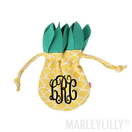 Monogrammed Pineapple Jewelry Pouch