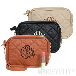 Monogrammed Quilted Cross Body Clutch