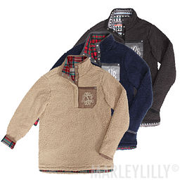 Monogrammed Reversible Sherpa Pullover