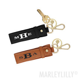 Monogrammed Leather Key Fob