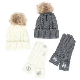 Monogrammed Gloves and Hat Set