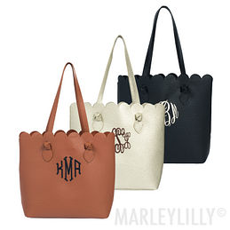 Monogrammed Scallop Tote Bag