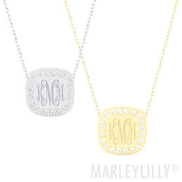 Monogrammed Pave Necklace