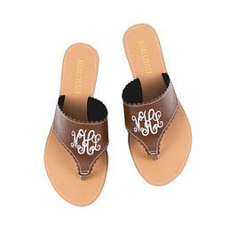 Monogrammed Scallop Sandals