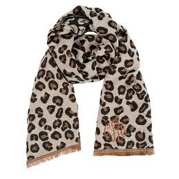 Monogrammed Leopard Blanket Scarf