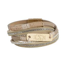 Monogrammed Wrap Bracelet Stack
